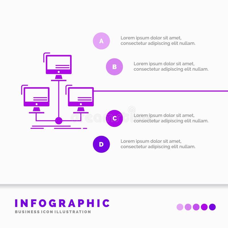 databas som fördelas, anslutning, nätverk, datorInfographics mall för Website och presentation Sk?ralilasymbol stock illustrationer