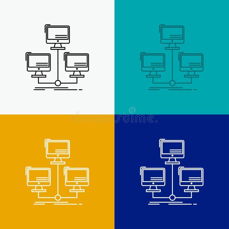 databas som fördelas, anslutning, nätverk, datorsymbol över olik bakgrund Linje stildesign som planl?ggs f?r reng?ringsduk och ap stock illustrationer