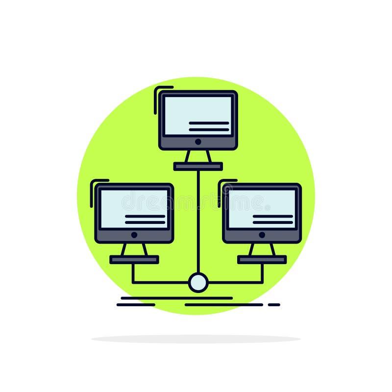 databas som fördelas, anslutning, nätverk, för färgsymbol för dator plan vektor royaltyfri illustrationer