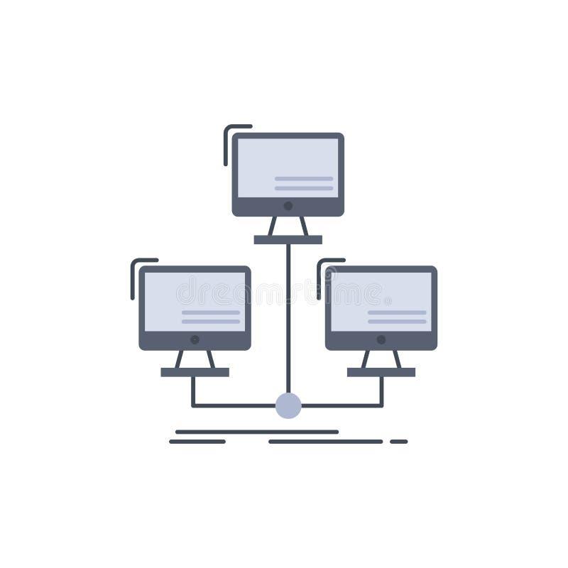 databas som fördelas, anslutning, nätverk, för färgsymbol för dator plan vektor vektor illustrationer