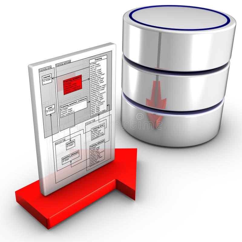 databas som importerar schemaen till vektor illustrationer