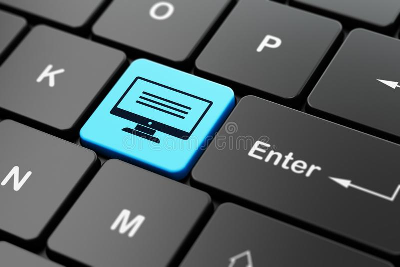 Databasbegrepp: Bildskärm på bakgrund för datortangentbord royaltyfri illustrationer