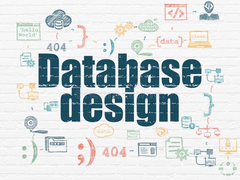 Databasbegrepp: Databasdesign på väggbakgrund stock illustrationer