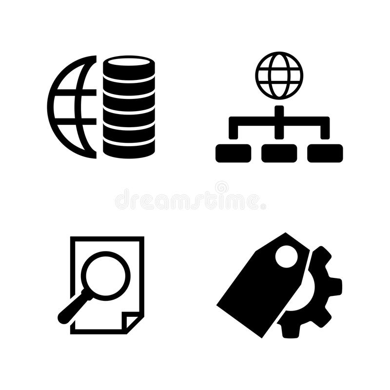 database Ícones relacionados simples do vetor ilustração royalty free