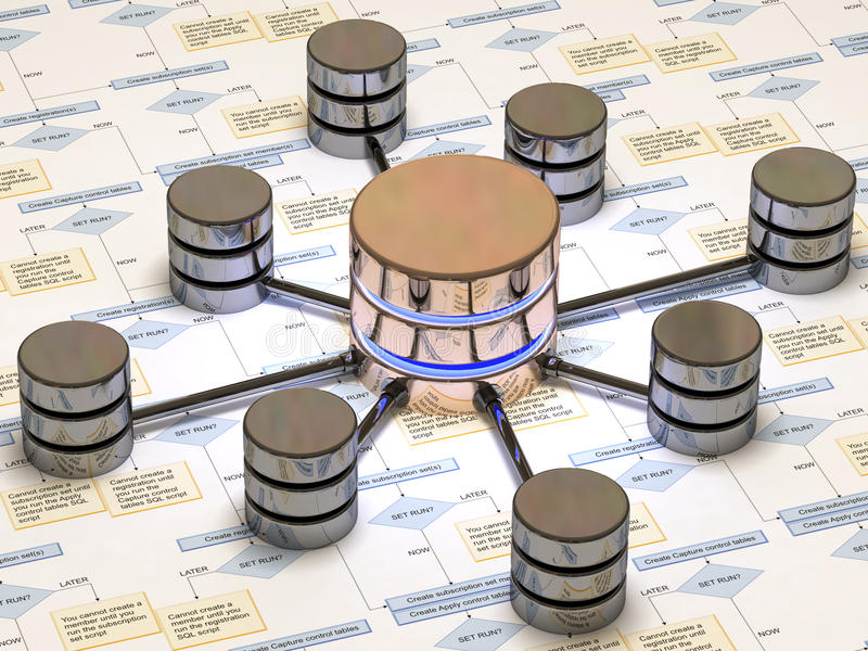 Database. Image of the SQL database server vector illustration