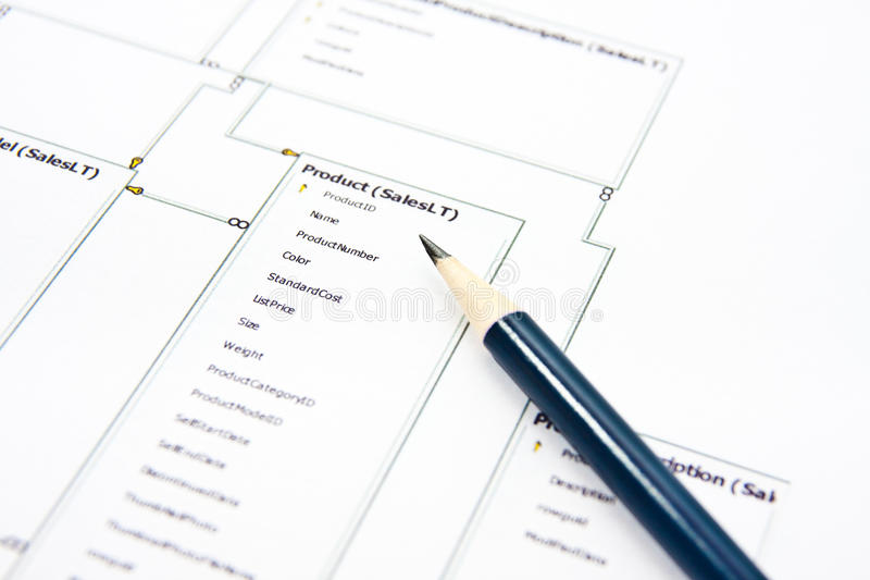 Database. Architect work - creating new  structure using pencil and paper stock photography