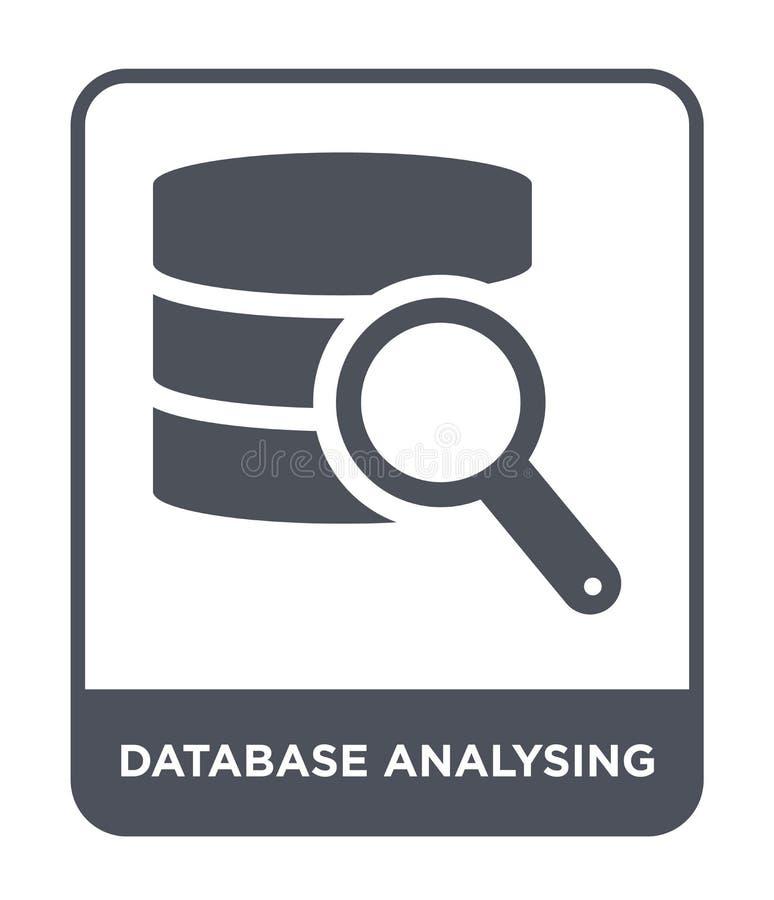 Database analysing icon in trendy design style. database analysing icon isolated on white background. database analysing vector. Icon simple and modern flat royalty free illustration
