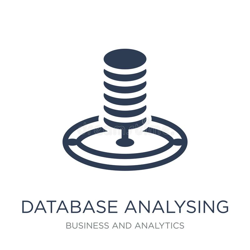 Database Analysing icon. Trendy flat vector Database Analysing i. Con on white background from Business and analytics collection, vector illustration can be use vector illustration