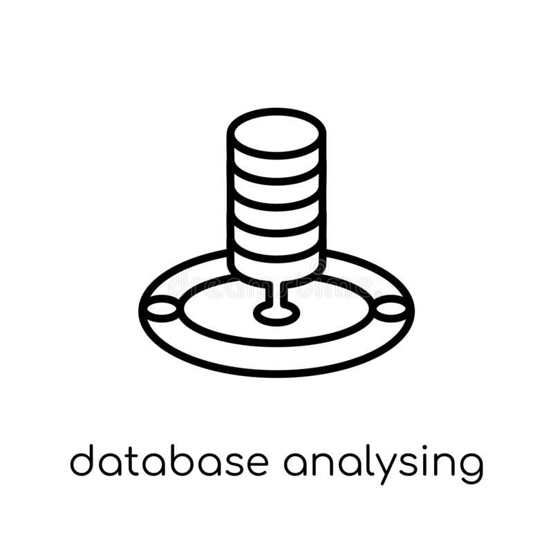 Database Analysing icon. Trendy modern flat linear vector Database Analysing icon on white background from thin line Business and. Analytics collection stock illustration
