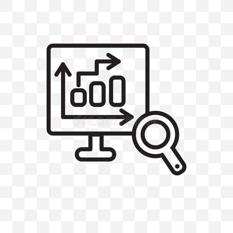 Database Analysing vector linear icon isolated on transparent background, Database Analysing transparency concept can be used for. Web and mobile royalty free illustration