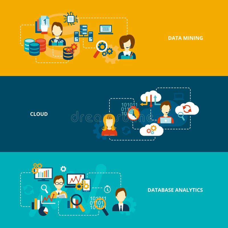 Database analytics banner set. Database analytics banner flat set with data mining cloud isolated vector illustration stock illustration