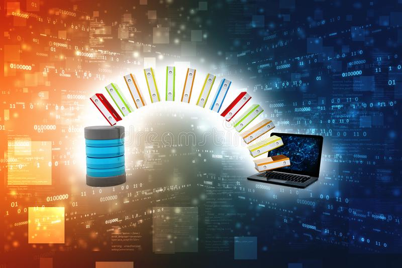 Database or archive concept. Data storage, Data Sharing. 3d render. Database or archive concept. Data storage, Data Sharing, Laptop and file cabinet with ring royalty free illustration