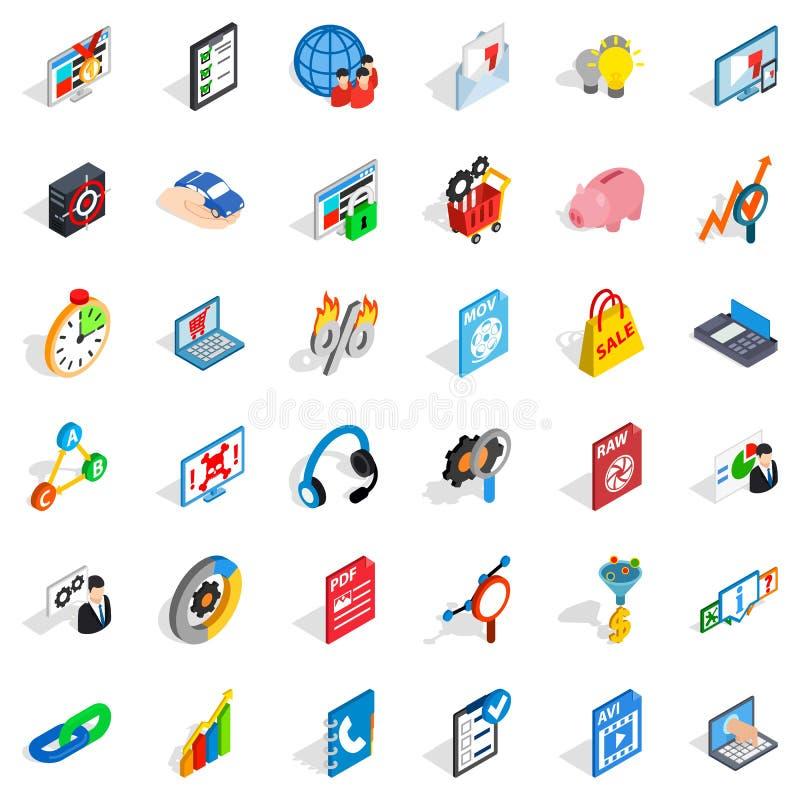 Database cloud icons set, isometric style. Database cloud icons set. Isometric style of 36 database cloud vector icons for web isolated on white background stock illustration