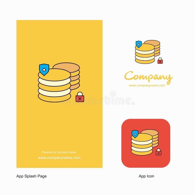 Database Company Logo App Icon y diseño de la página del chapoteo Elementos creativos del diseño del App del negocio stock de ilustración