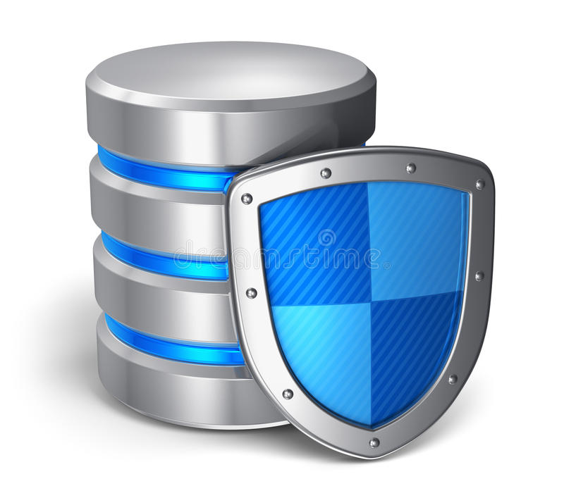 Database and computer data security concept vector illustration