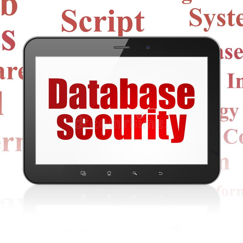 Database concept: Tablet Computer with Database Security on display. Database concept: Tablet Computer with red text Database Security on display, Tag Cloud vector illustration