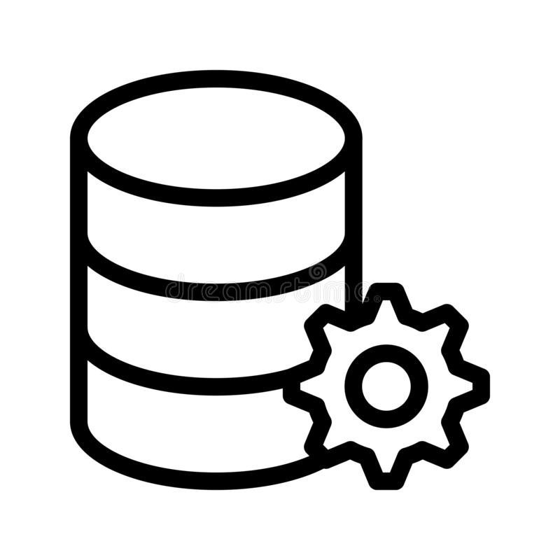 database configure vector line icon stock illustration