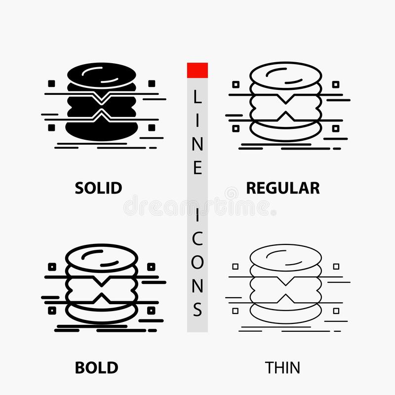 database, data, architecture, infographics, monitoring Icon in Thin, Regular, Bold Line and Glyph Style. Vector illustration royalty free illustration