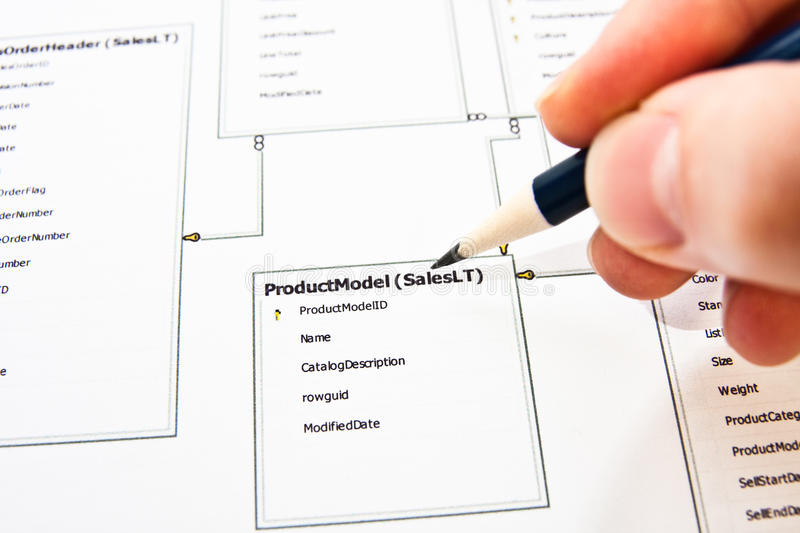 Database design. Database architect correcting existing database structure stock photography