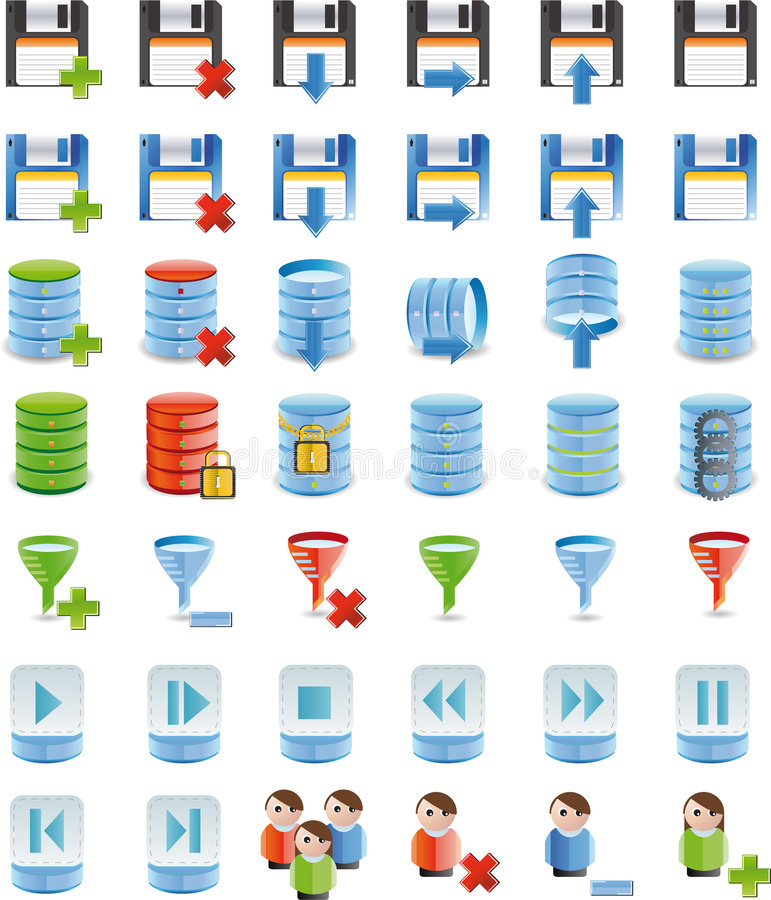 Download Database Details Icon Set Of 42 Icon`s Stock Illustration - Image: 8615267