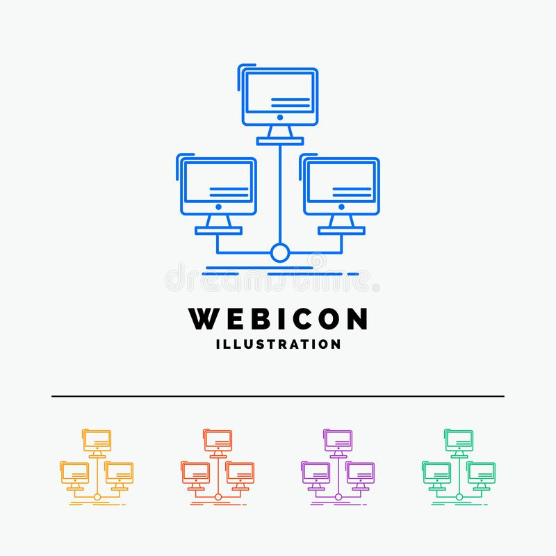database, distributed, connection, network, computer 5 Color Line Web Icon Template isolated on white. Vector illustration vector illustration