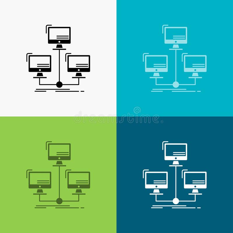 Database, distributed, connection, network, computer Icon Over Various Background. glyph style design, designed for web and app. Eps 10 vector illustration stock illustration