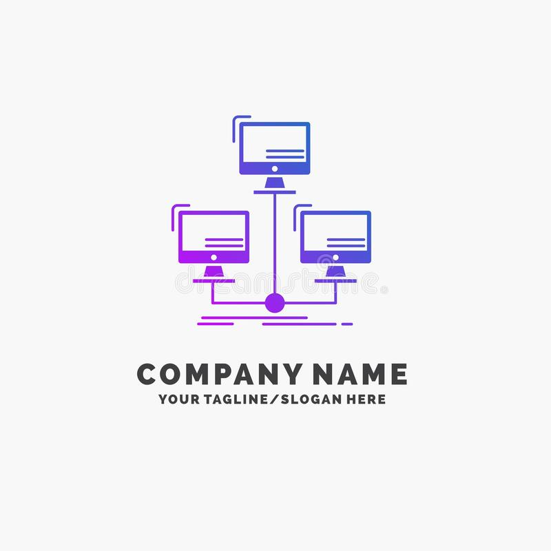 Colorful Company Logo Template With Tagline: Database, Distributed, Connection, Network, Computer
