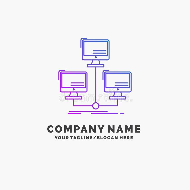 database, distributed, connection, network, computer Purple Business Logo Template. Place for Tagline vector illustration