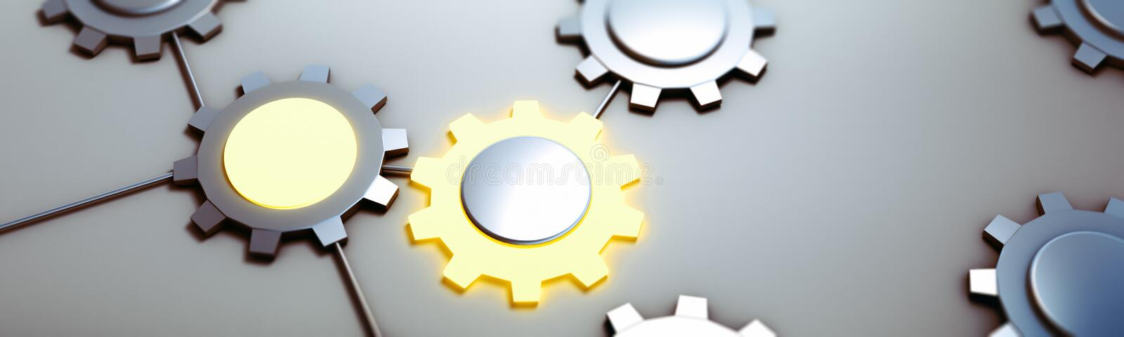 Database gears concept 3d rendering. Database gears concept. Panoramic 3d rendering vector illustration