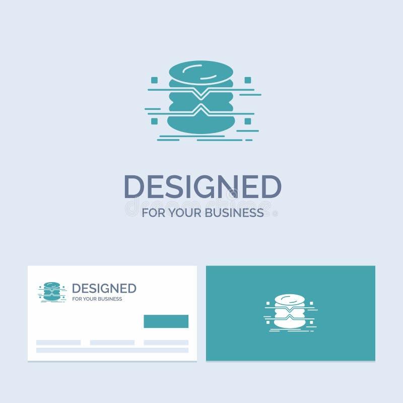 database, gegevens, architectuur, infographics, controlezaken Logo Glyph Icon Symbol voor uw zaken Turkooise Visitekaartjes stock illustratie