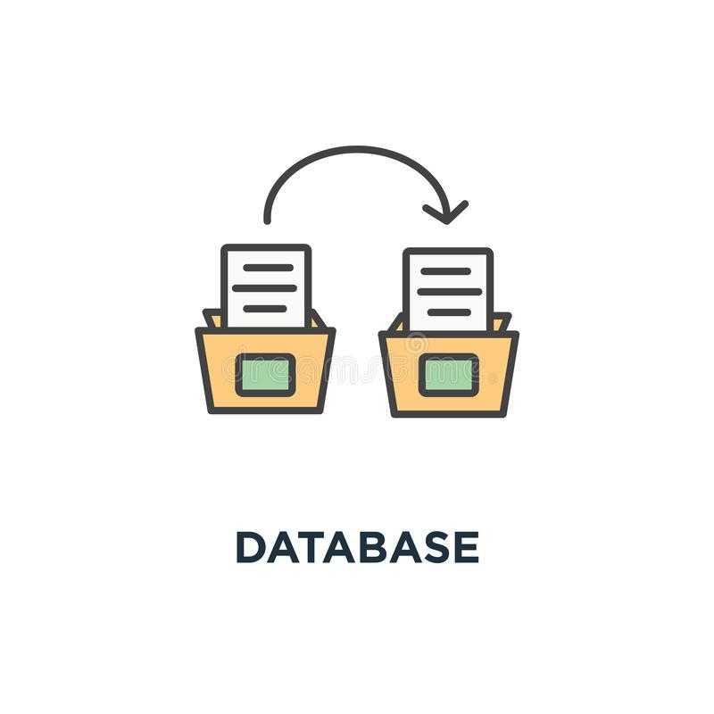 database icon. bankers box from the repository with documents, systematization concept symbol design, depository, archive, file stock illustration