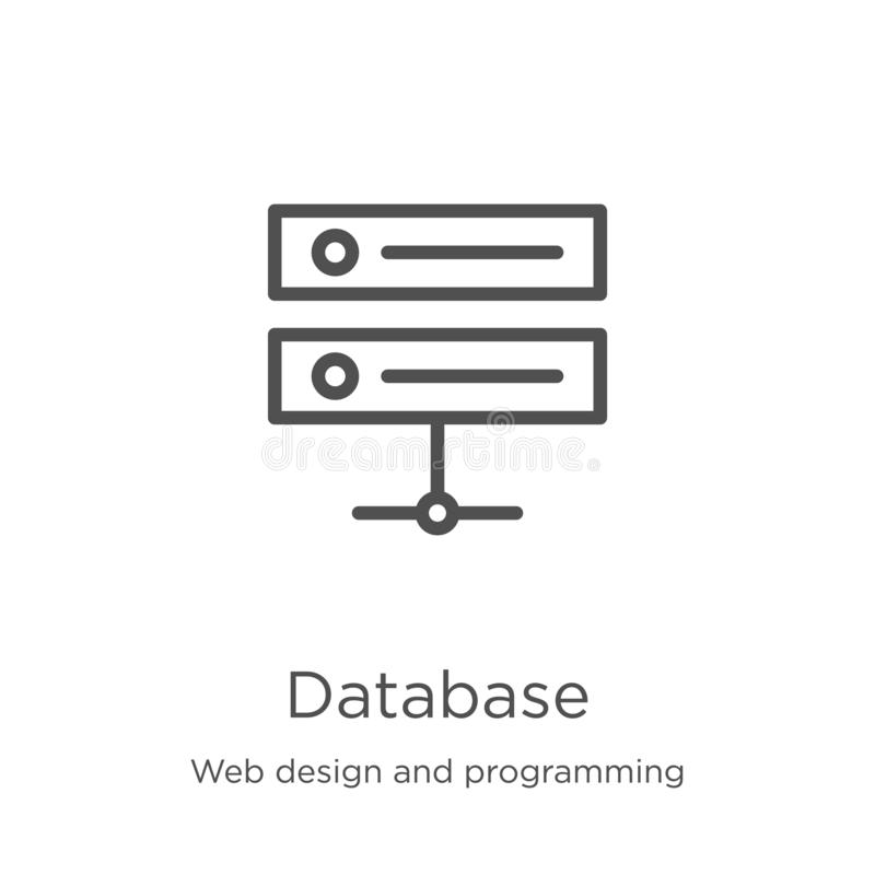 Database icon vector from web design and programming collection. Thin line database outline icon vector illustration. Outline,. Database icon. Element of web stock illustration