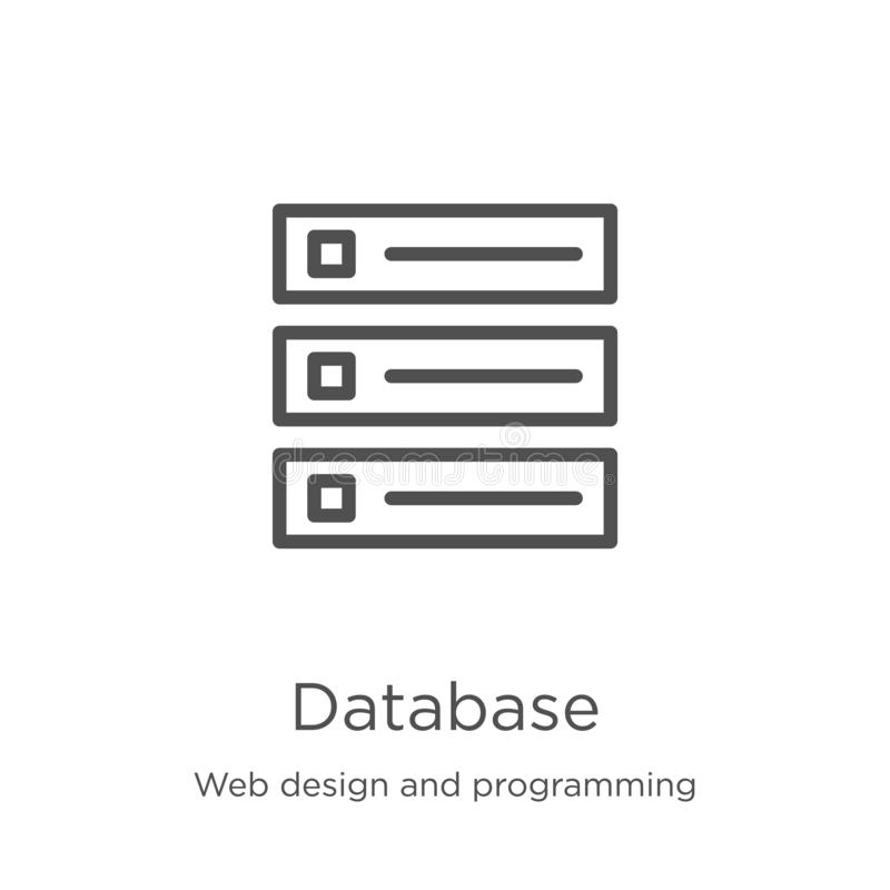 Database icon vector from web design and programming collection. Thin line database outline icon vector illustration. Outline,. Database icon. Element of web royalty free illustration