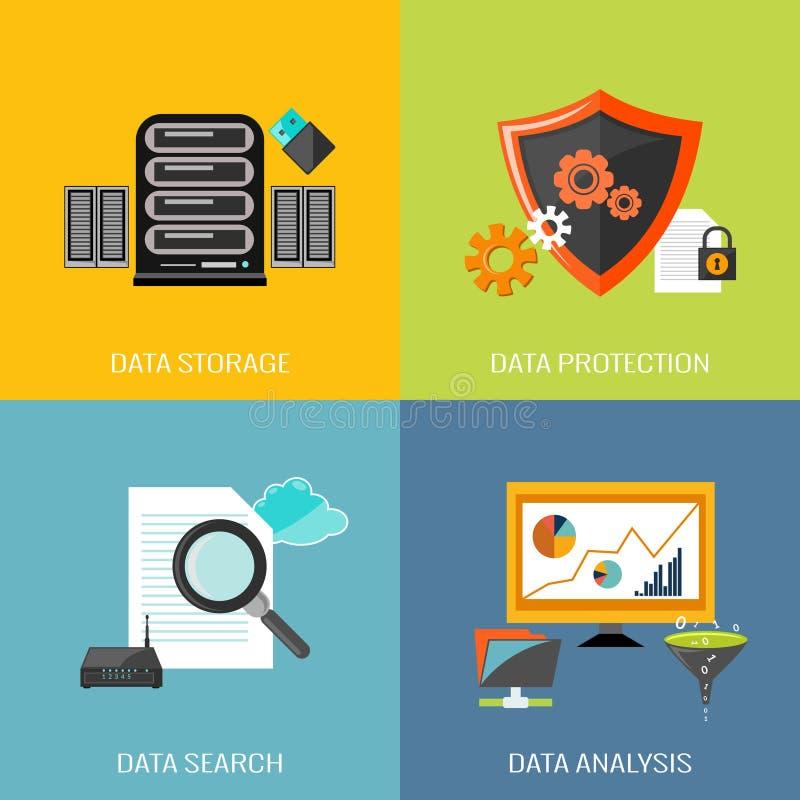 Database icons flat vector illustration