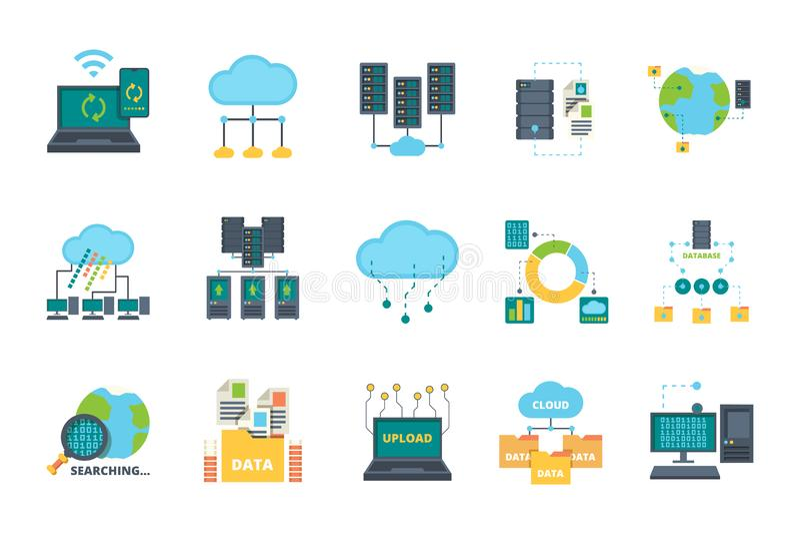 Database icons. Server cloud management network processes security computer bases online vector flat pictures set. Illustration network database, data security stock illustration