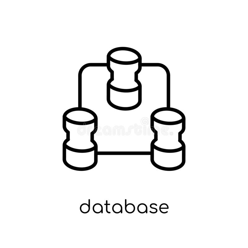 Database Interconnected icon. Trendy modern flat linear vector D royalty free illustration