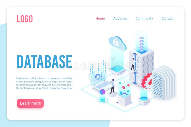 Database landing page isometric vector template. Internet of things, data server storage 3d web banner. Wireless royalty free illustration