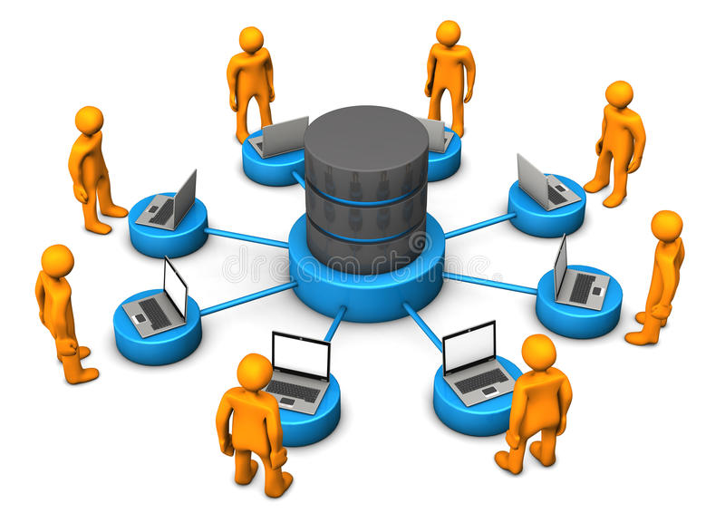 Database Laptops Manikins stock illustration