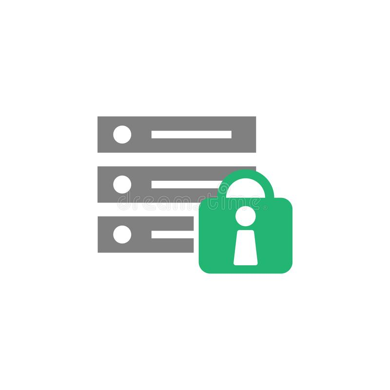 Database, lock icon. Element of Cyber and Security icon for mobile concept and web apps. Detailed Database, lock icon can be used royalty free illustration