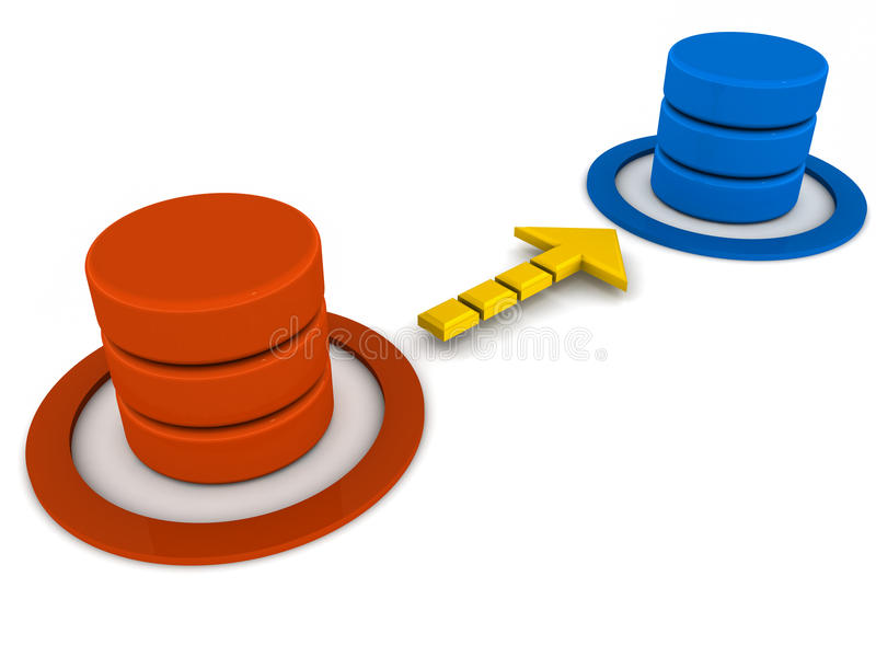Database migration sync. Database migration or update concept, data getting transferred from one database to another