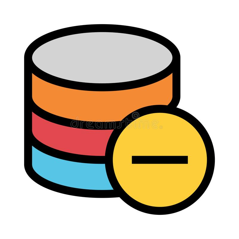 Database minus color line icon stock illustration