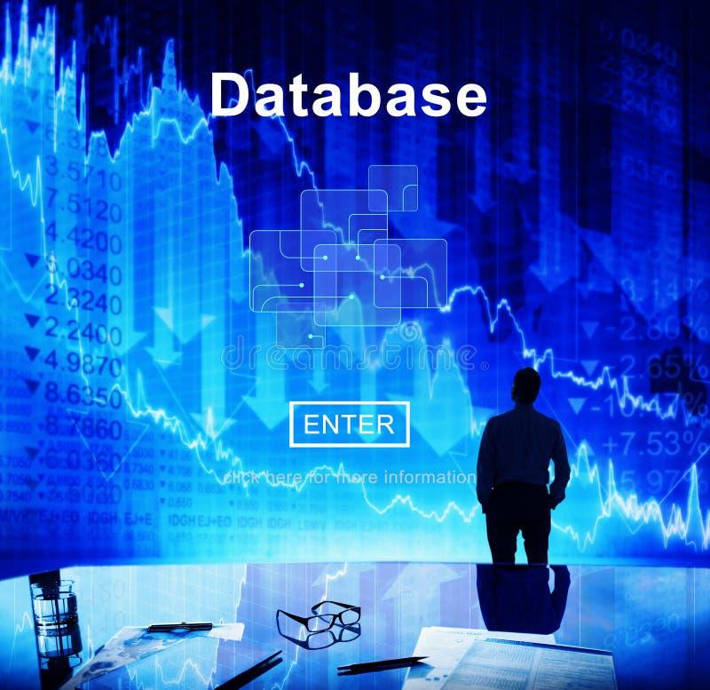 Database Network Technology Enter Concept. Database Network Technology Analysis Application stock illustration