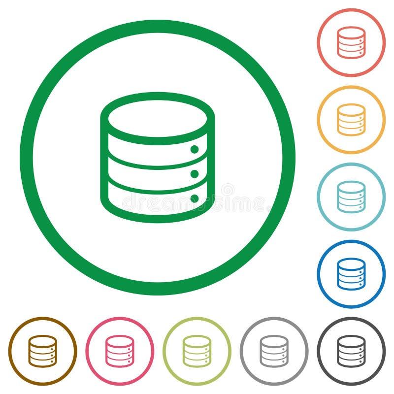 Database outlined flat icons royalty free illustration