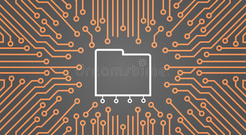 Database Over Computer Chip Moterboard Background Data Center System Concept Banner vector illustration