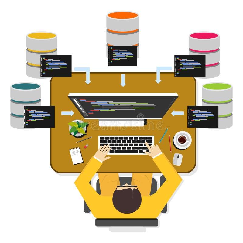 Database Programmer Or Database Administrator Working Concept Stock ...