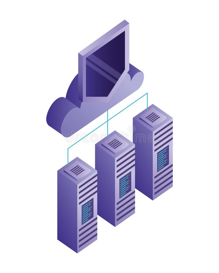 Database server cloud computing storage protection connection royalty free illustration