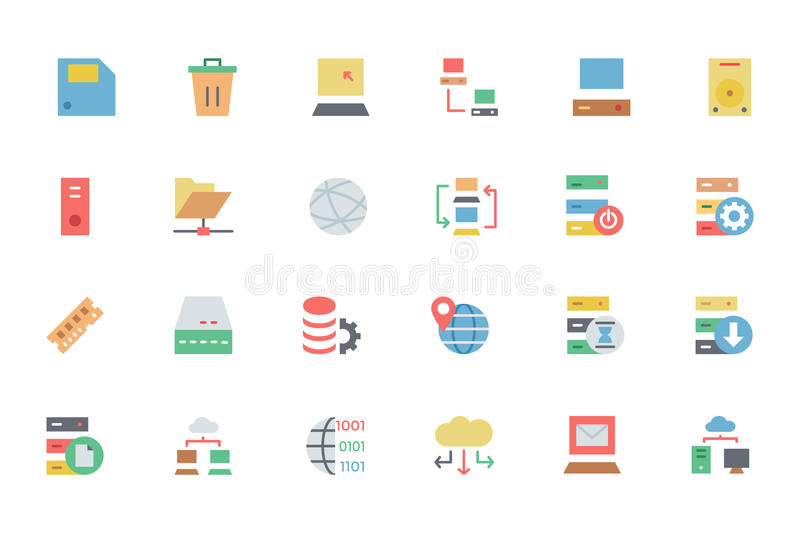 Database and Server Colored Vector Icons 2 stock illustration