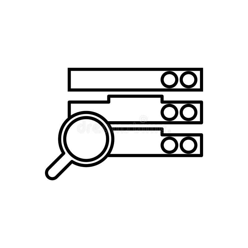 Database, server, onderzoekspictogram - Vector Gegevensbestand vectorpictogram stock illustratie