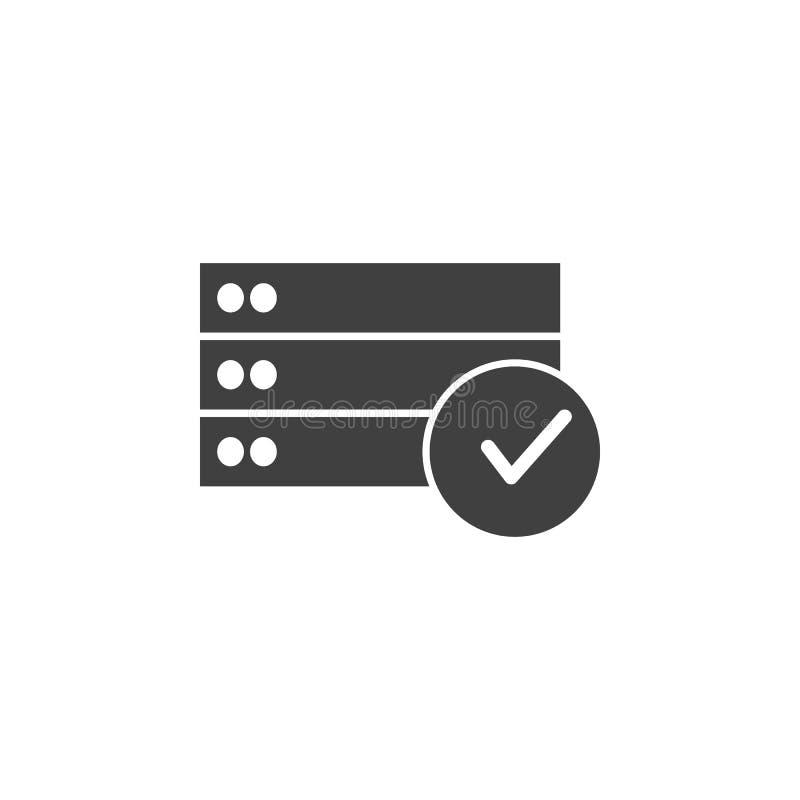 Database, server, stem, ja vectorpictogram Element van gegevens voor mobiele concept en webtoepassingenillustratie Dun lijnpictog royalty-vrije illustratie
