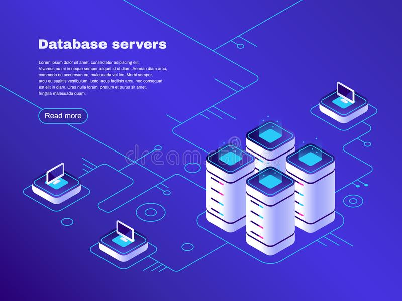 Database servers. Digital datacenter server network. Hosting tech support. Online cloud storage vector isometric vector illustration